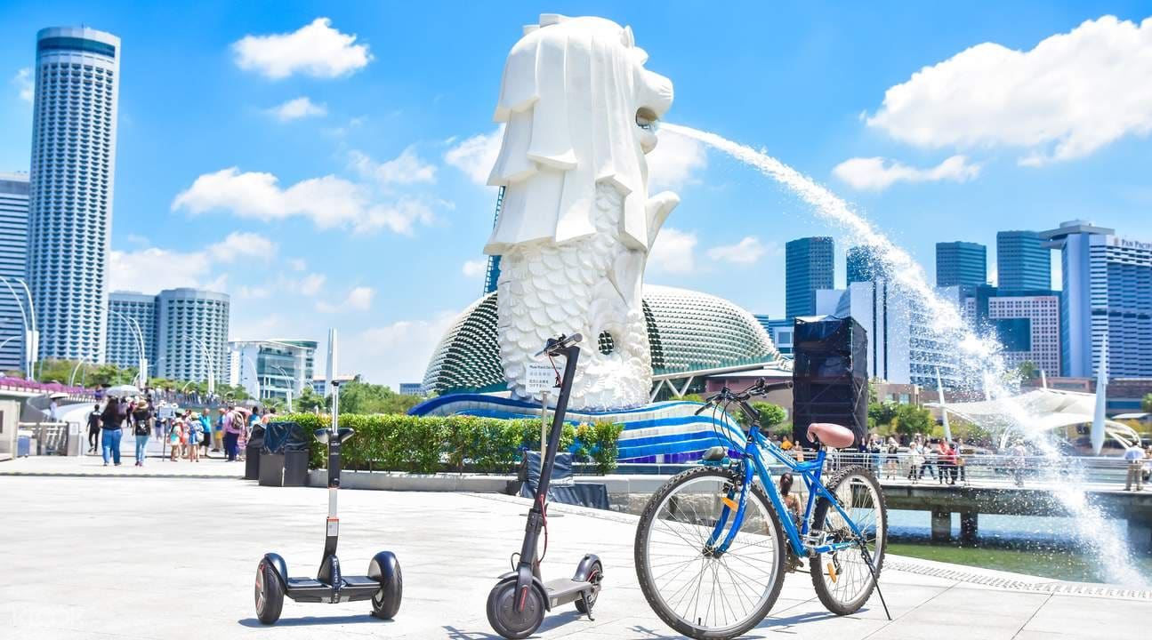 segway e-scooter bicycle at marina bay in singapore