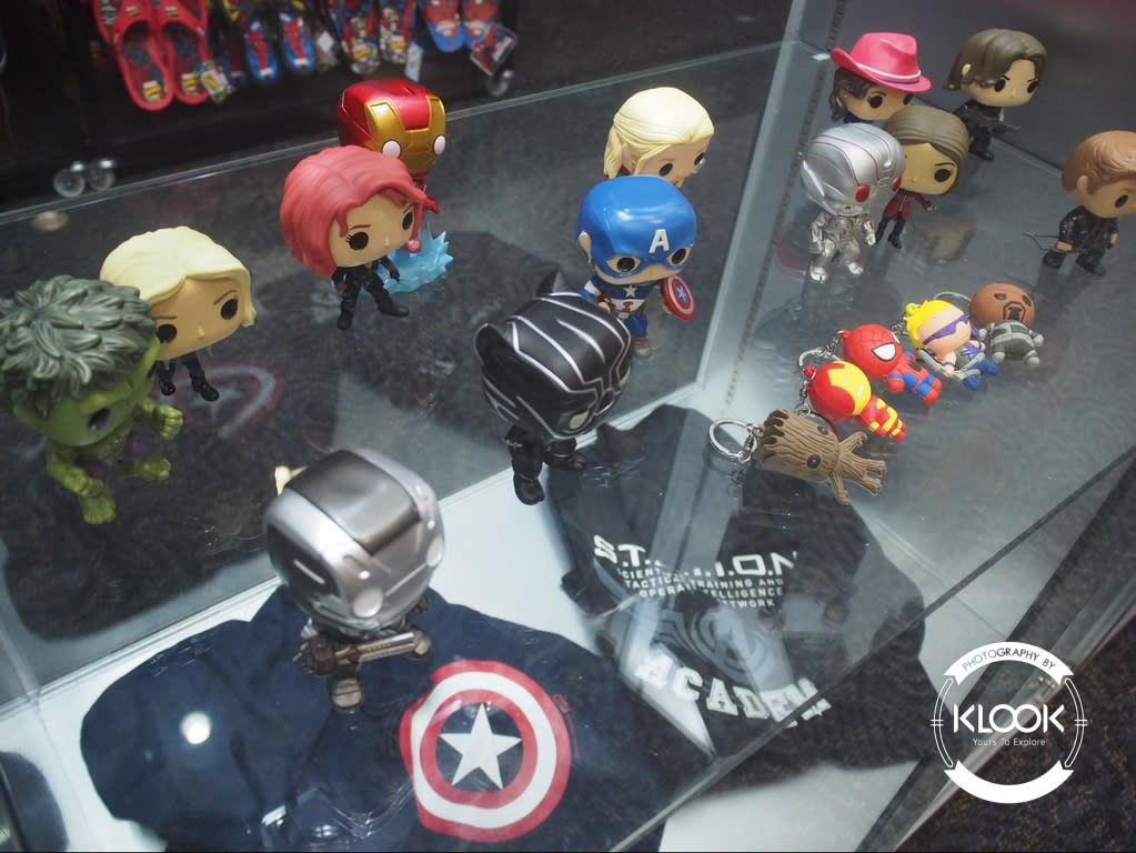 Keychains and figurines at the Merchandise store