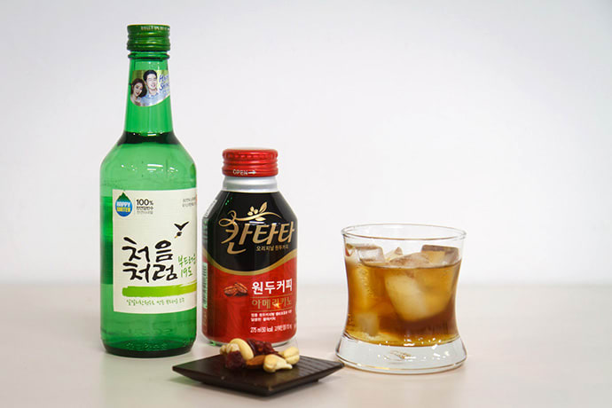 Soju and coffee cocktail
