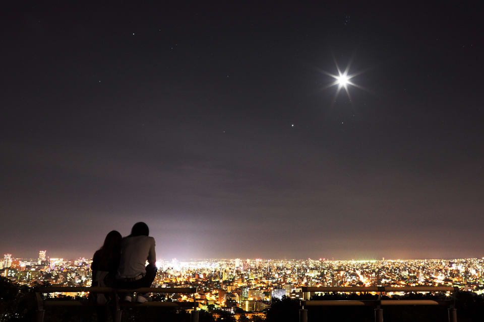 View of Sapporo's night sky and city landscape