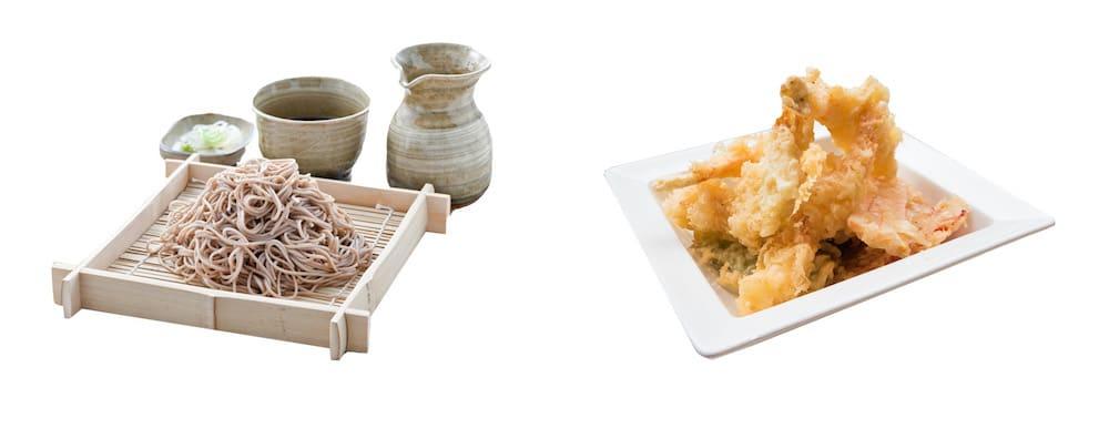 soba noodles , tempura
