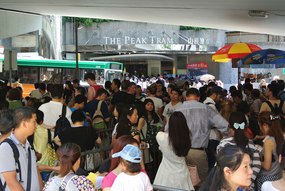 queue for the peak tram