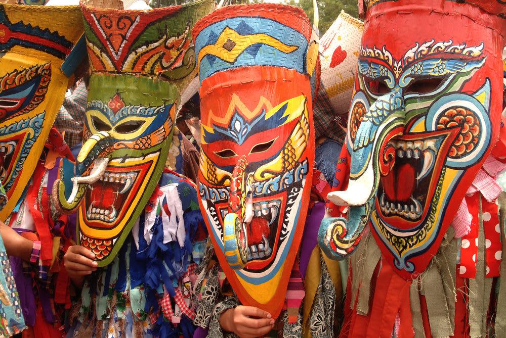 phi ta khon festival, ghost festival costumes, ghost festival thailand, ghost festival thailand pictures