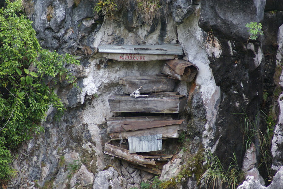 Skeleton in hanging coffin at Sagada