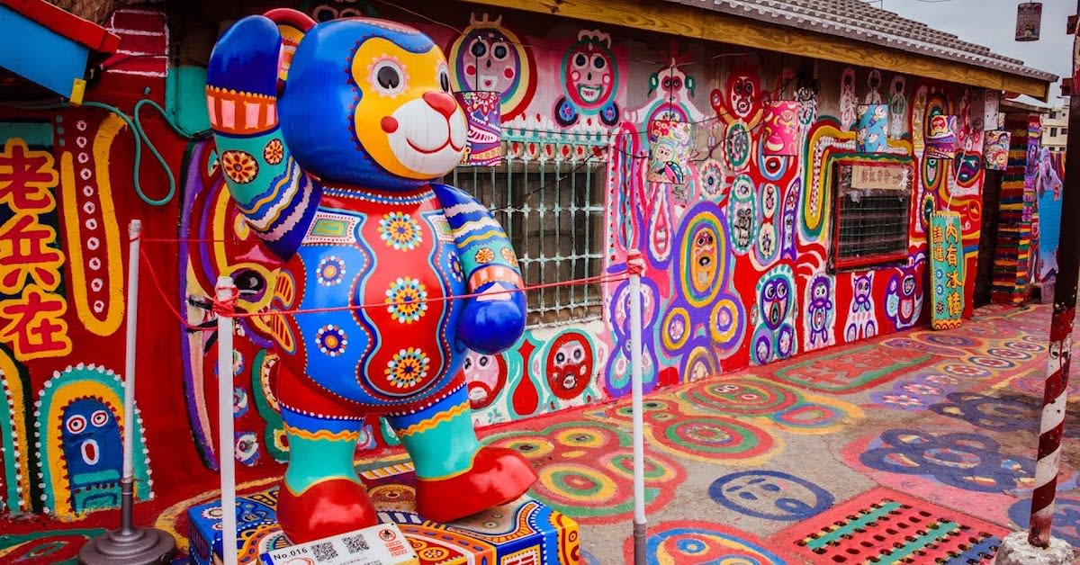 Taiwan Rainbow Village with Bear Statue