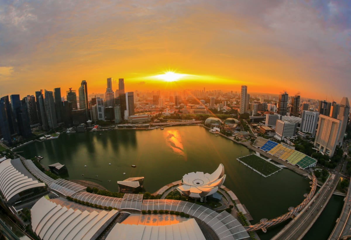 Sunset at Marina Bay Sands Skypark