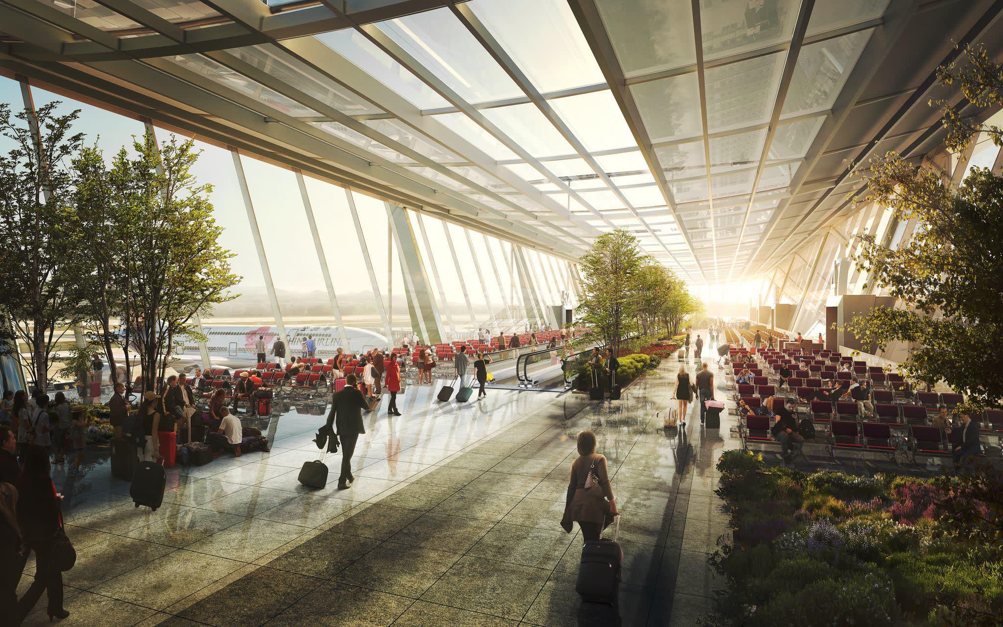 桃 機 第 三 航 廈 寬 敞 的 走 廊 、 改 造 了 大 家 對 於 桃 園 機 場 的 印 象