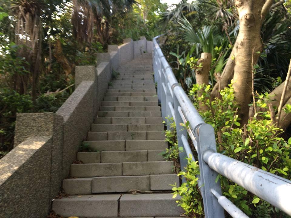 通往長仁社區觀景台的入口,階梯垂直而上