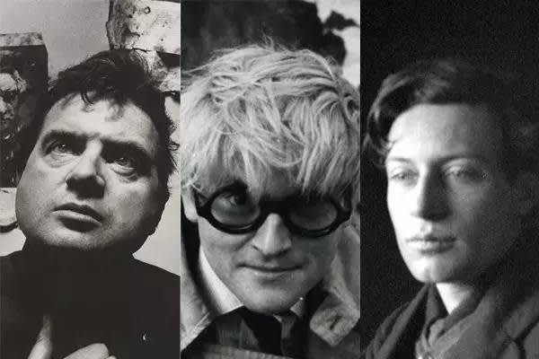 由 左 至 右 : 法 蘭 西 斯 · 培 根 、 大 衛 · 霍 克 尼 、 鄧 肯 · 格 蘭 特 ( 約1910年)圖片:Courtesy of Wikimedia Commons, YouTube, and the George Eastman Museum, gift of Alvin Langdon.