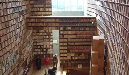 挑 高 的 超 大 藏 書 間 。