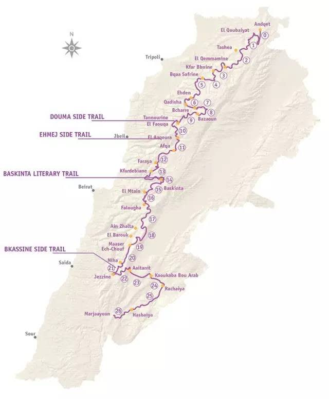 徒 步 路 線 圖  | www.lebanontrail.org