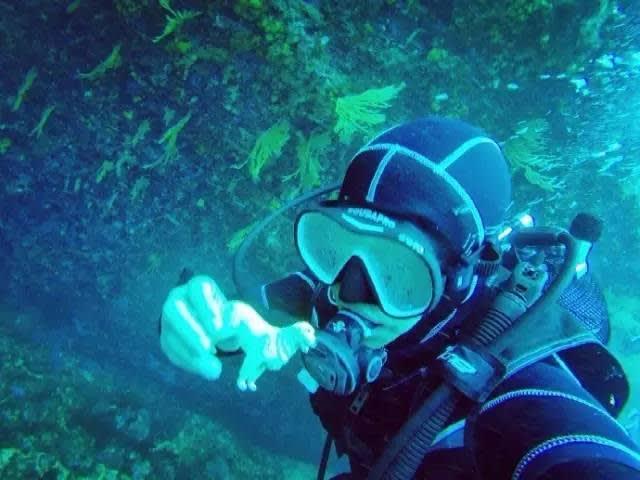 潛 水 。