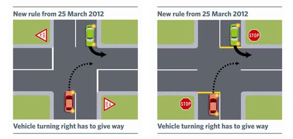 更 新 : 紐 西 蘭 交 通 規 則 改 了 , 現 在 是 右 轉 讓 左 轉 。