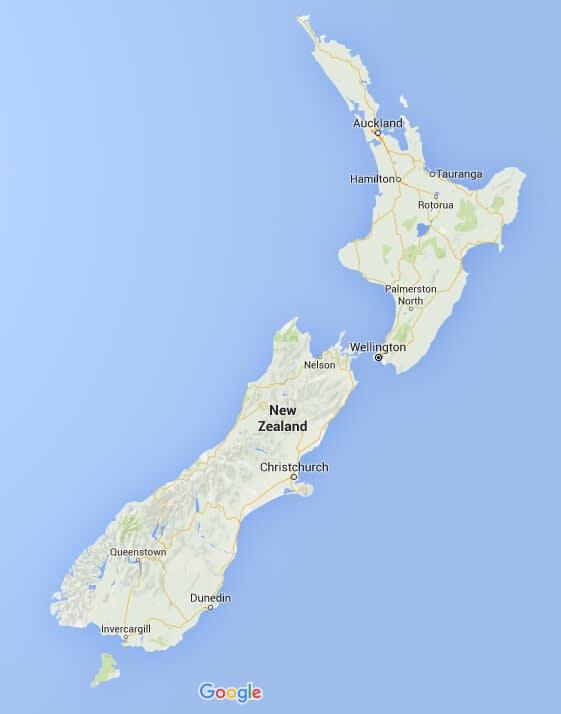 紐 西 蘭 領 土 及 主 要 城 市。