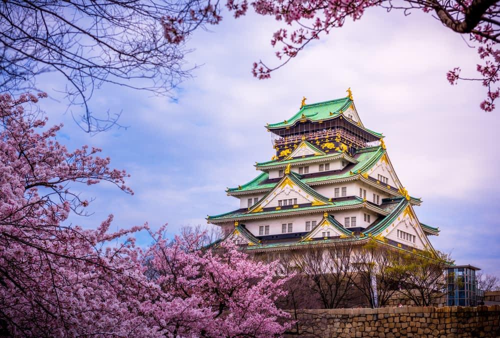 櫻 花 樹 下 的 大 阪 城 , 綠 屋 頂 與 粉 紅 的 完 美 結 合