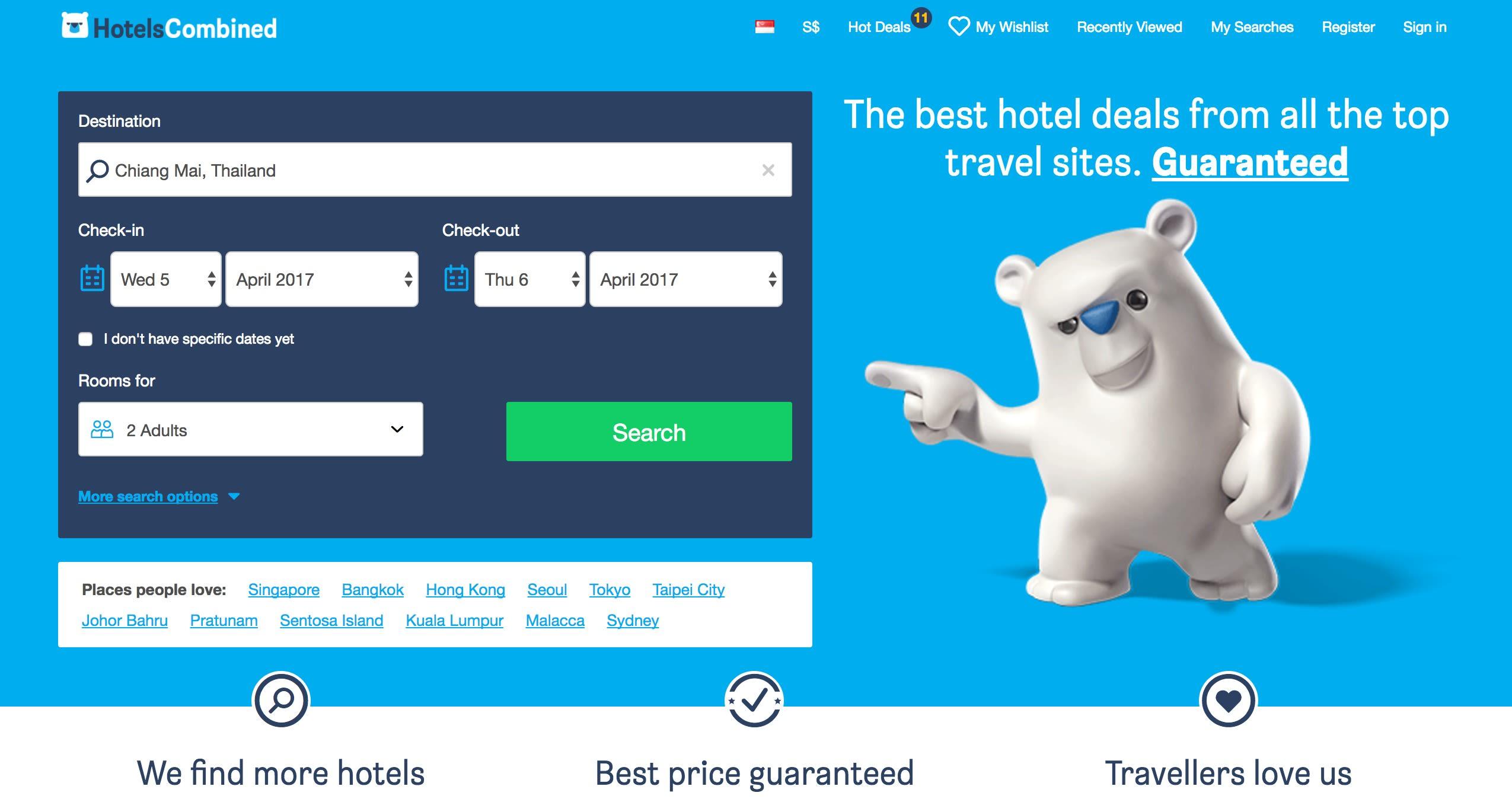 hotelscombined homepage