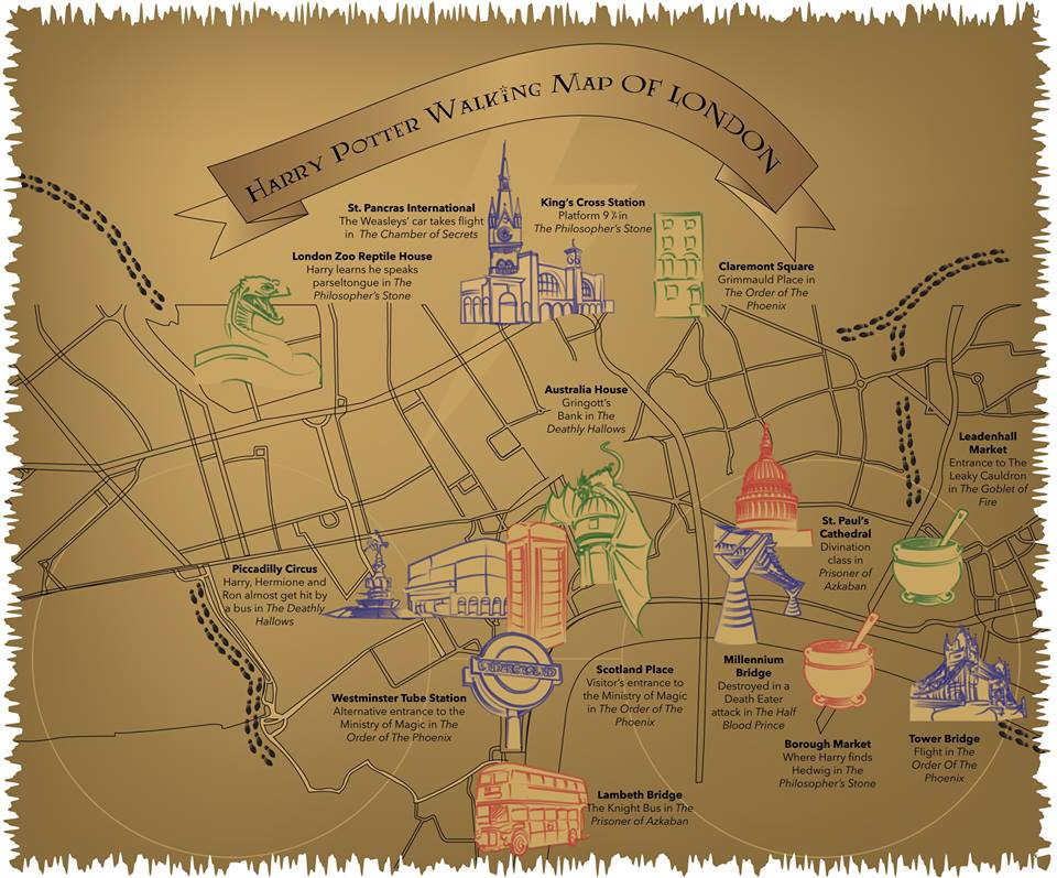 harry potter walking tour map