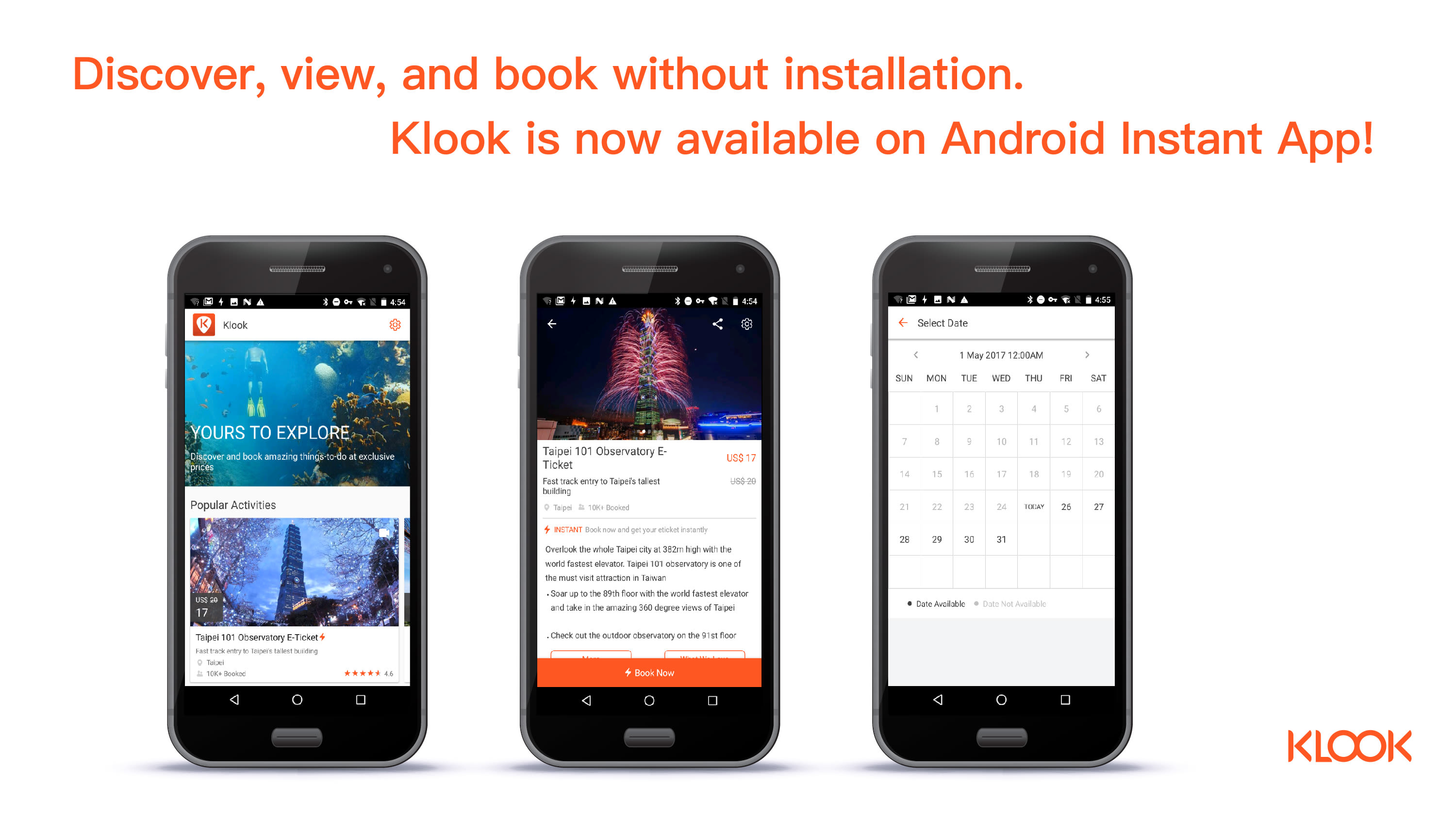 Klook Android Instant App Launch Visual