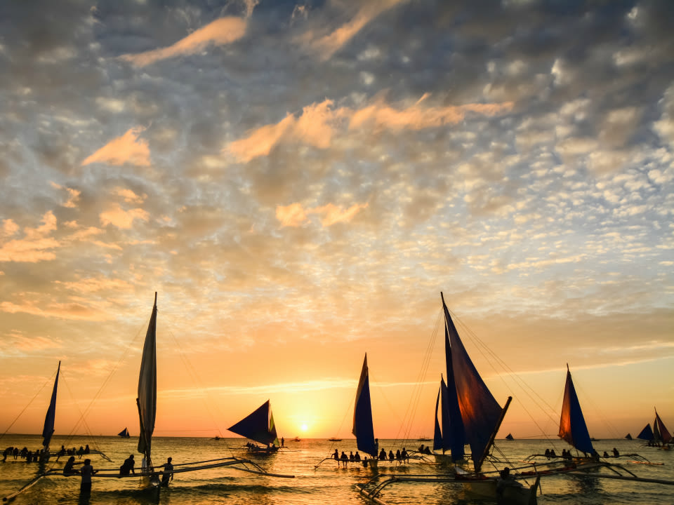 Paraw Sailing At Sunset in Boracay