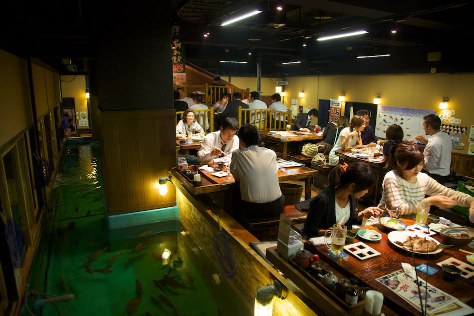 The 10 weirdest cafes in tokyo yours to explore for Zauo fishing restaurant
