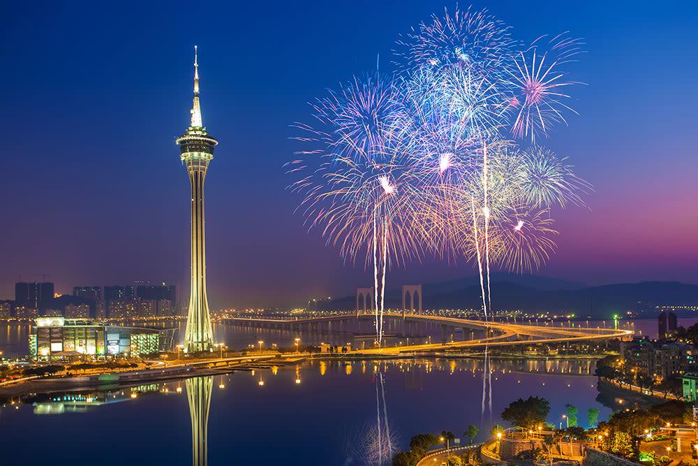 Fireworks at Macau Tower