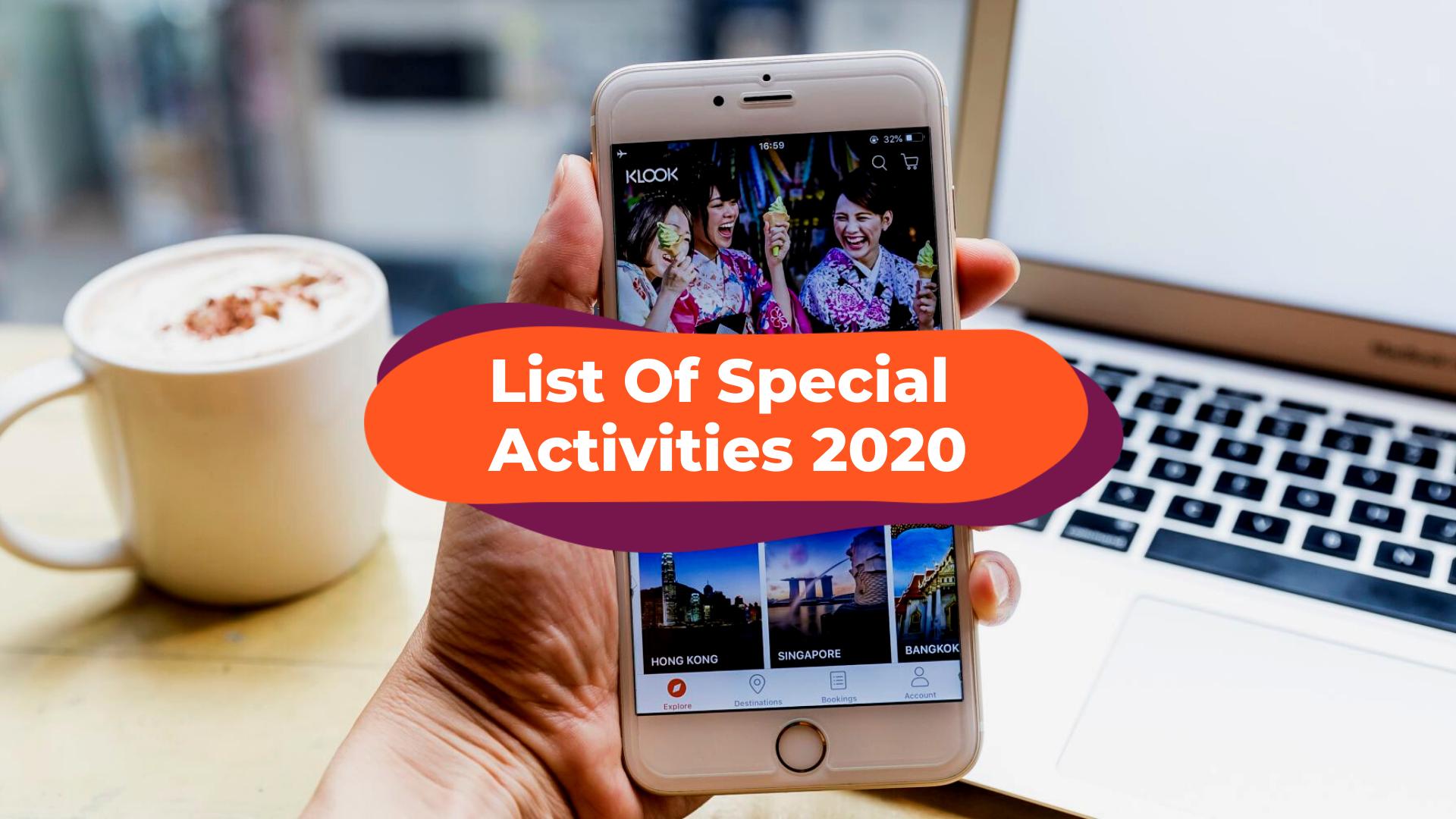 Klook List Of Special Activities 2020