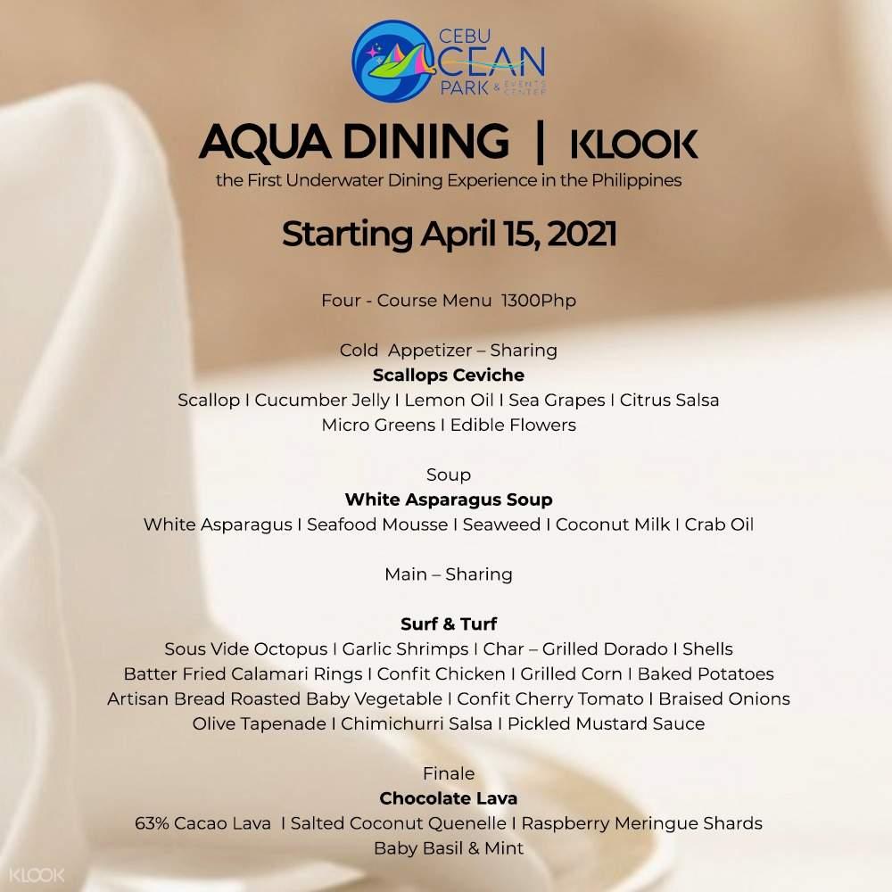 cebu ocean park aqua dining menu