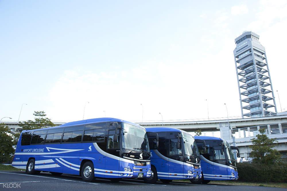 fleet of buses at kansai international airport