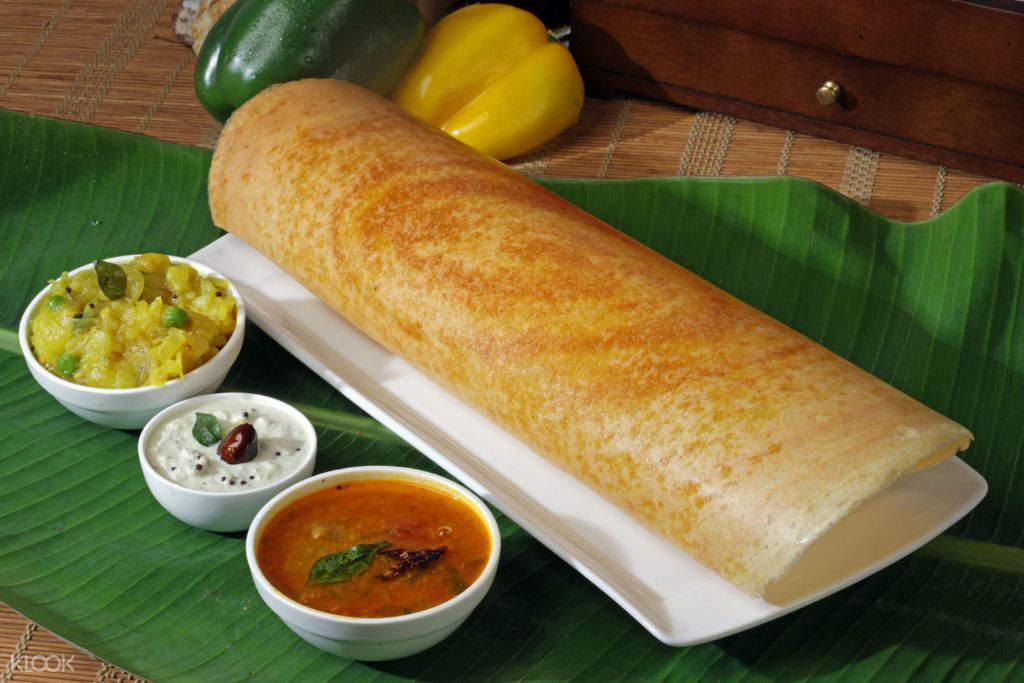 印度海得拉巴街頭美食馬薩拉捲餅