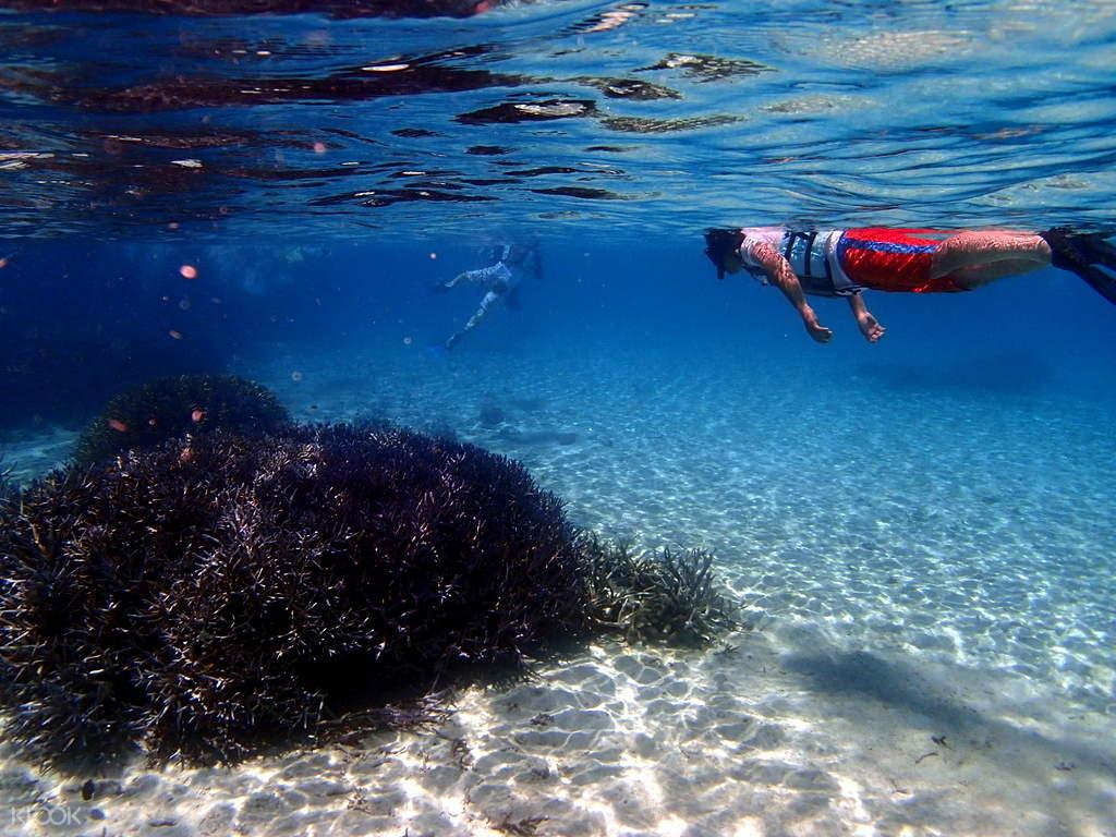 man snorkeling in blue cave ishigaki