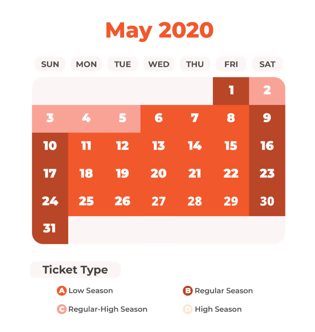 May Universal Studios Japan Price Calendar