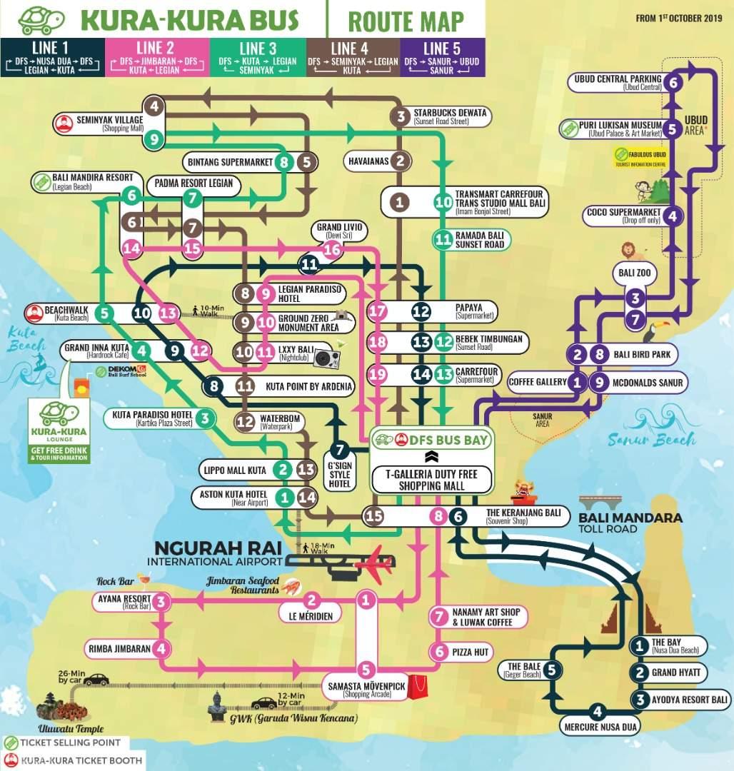 kura kura bus route map bali indonesia