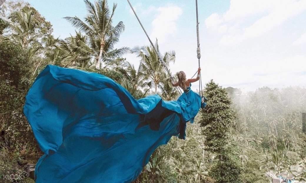 woman on bali swing