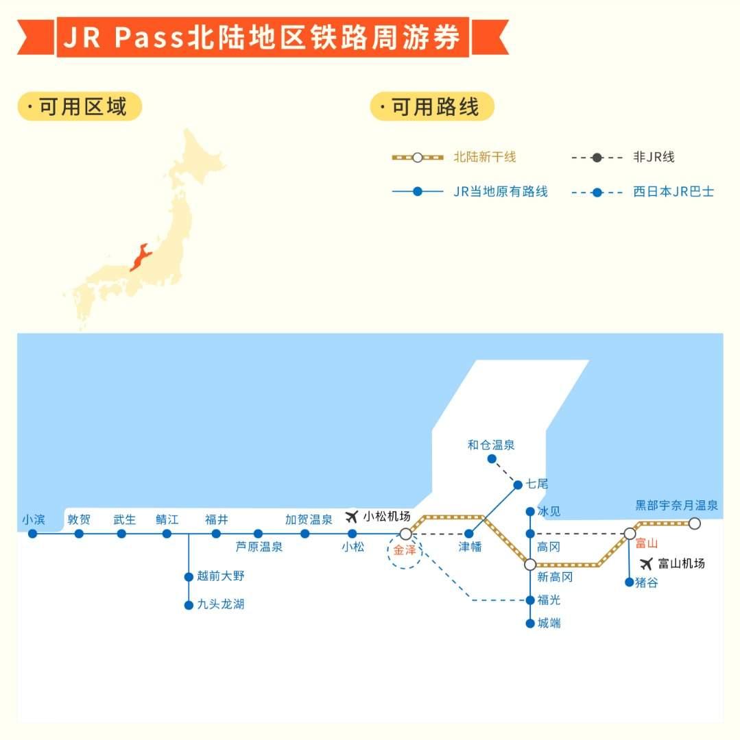 JR Pass 北陆地区铁路周游券