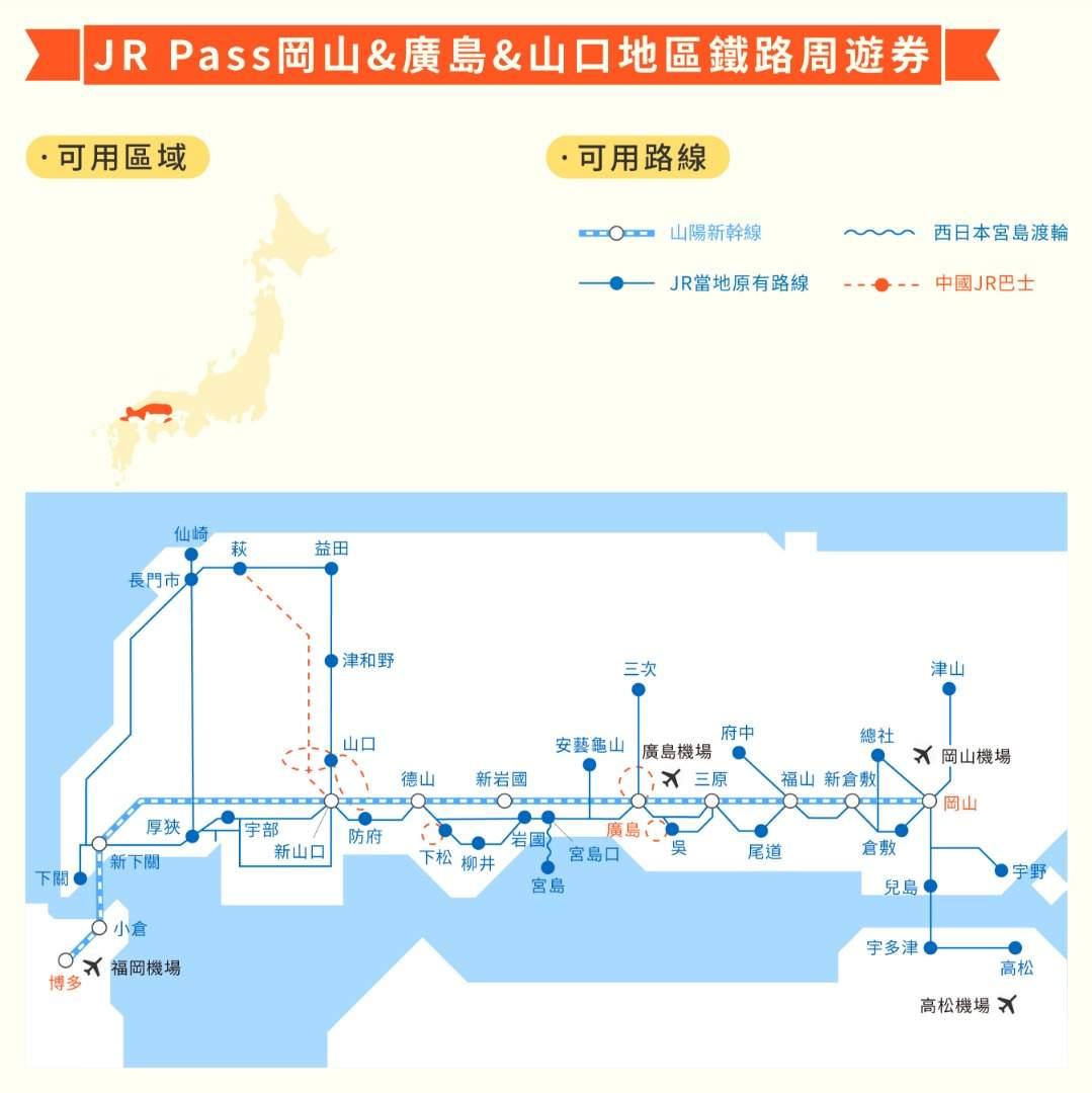 5日券JR岡山&廣島&山口地區鐵路周遊券