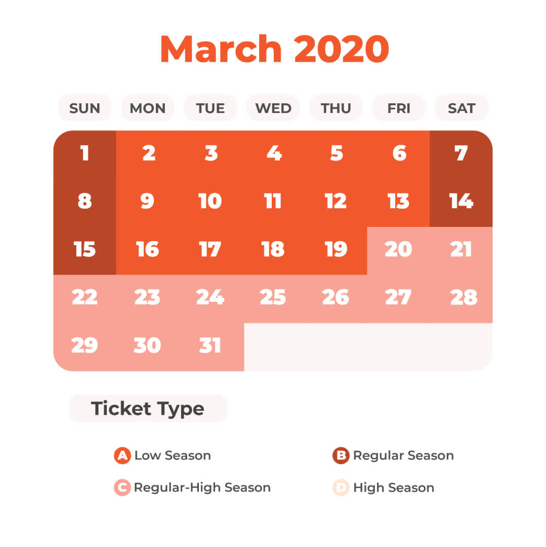 March Universal Studios Japan Price Calendar