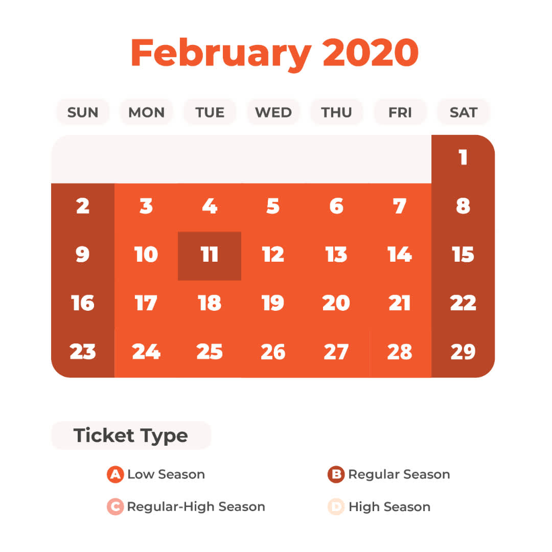 February Universal Studios Japan Price Calendar