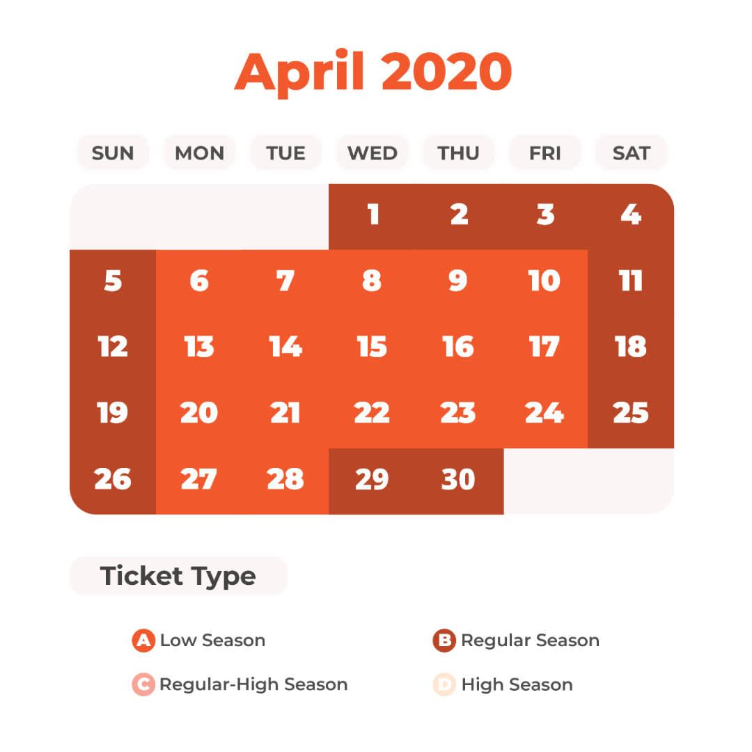 April Universal Studios Japan Price Calendar