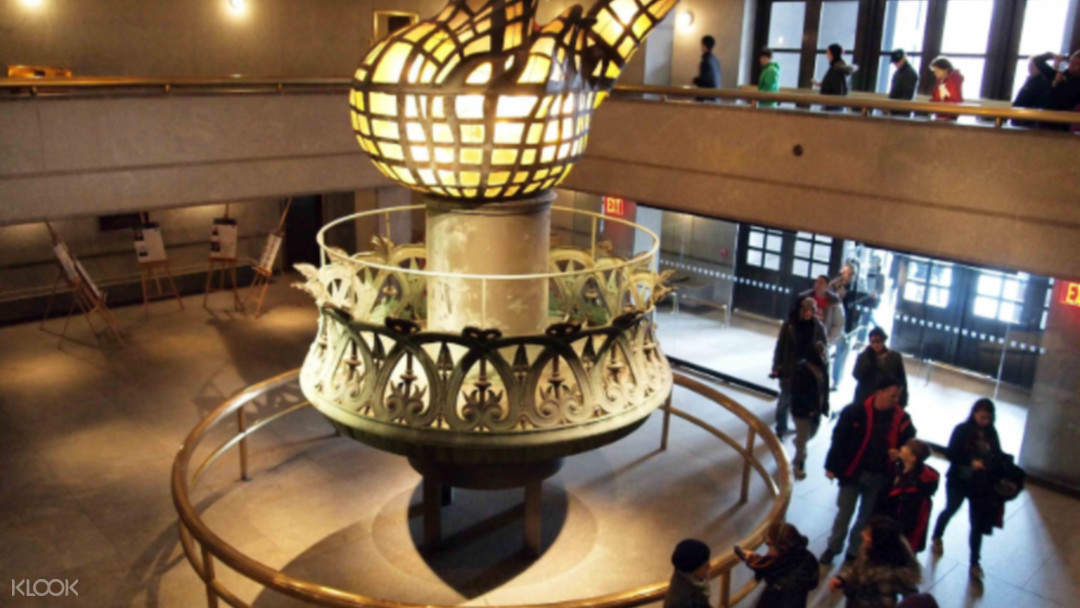 lantern statue inside the pedestal of Statue of liberty