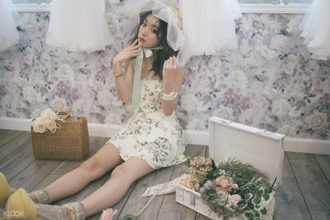 taking private photo with flowers around