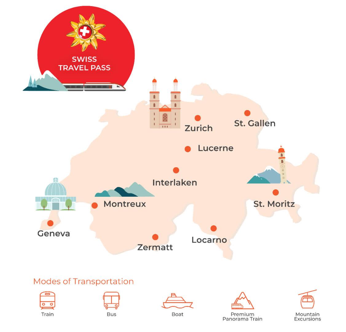 swiss travel pass map
