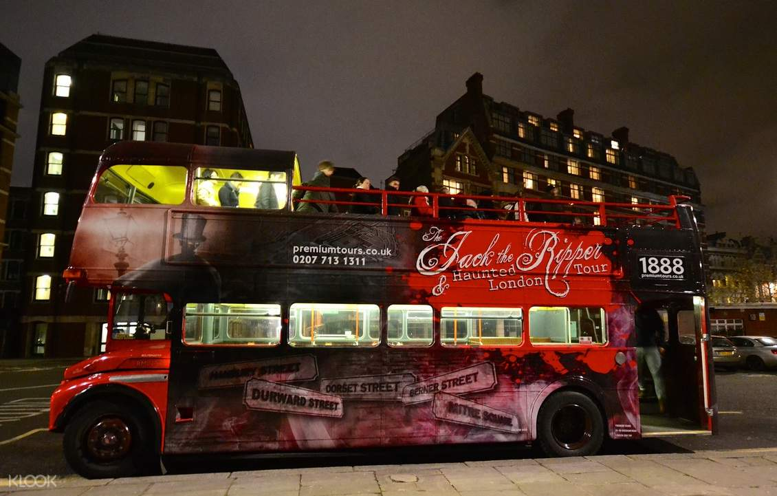 tourists getting off the haunted london bus