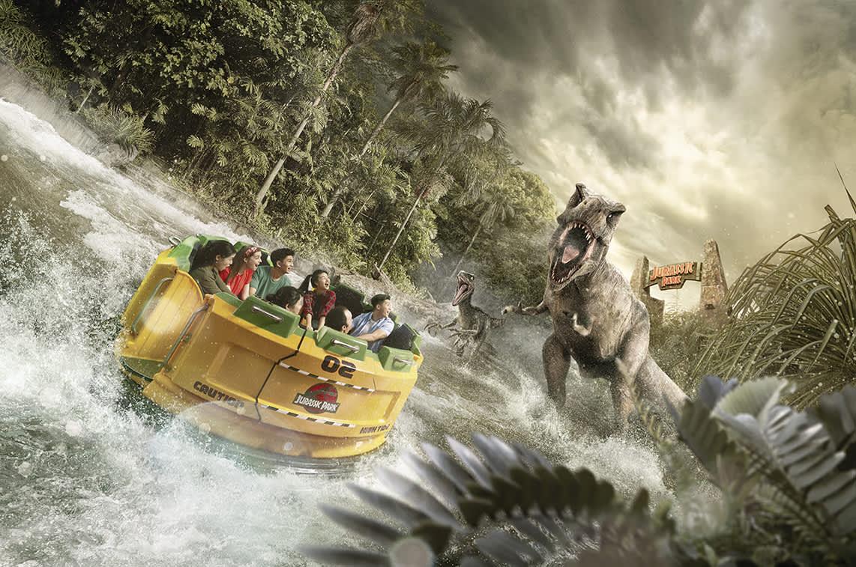 Jurassic Park ride in universal studios singapore