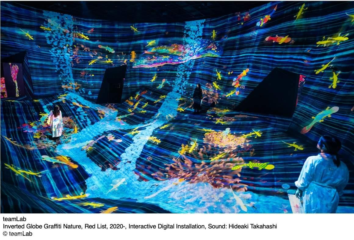 Inverted Globe Graffiti Nature, Red List, 2020-, Interactive Digital Installation, Sound: Hideaki Takahashi