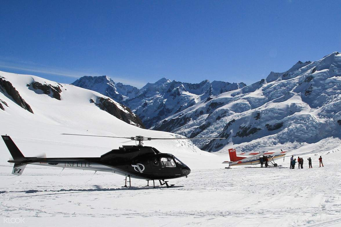 southern alps and helicopter