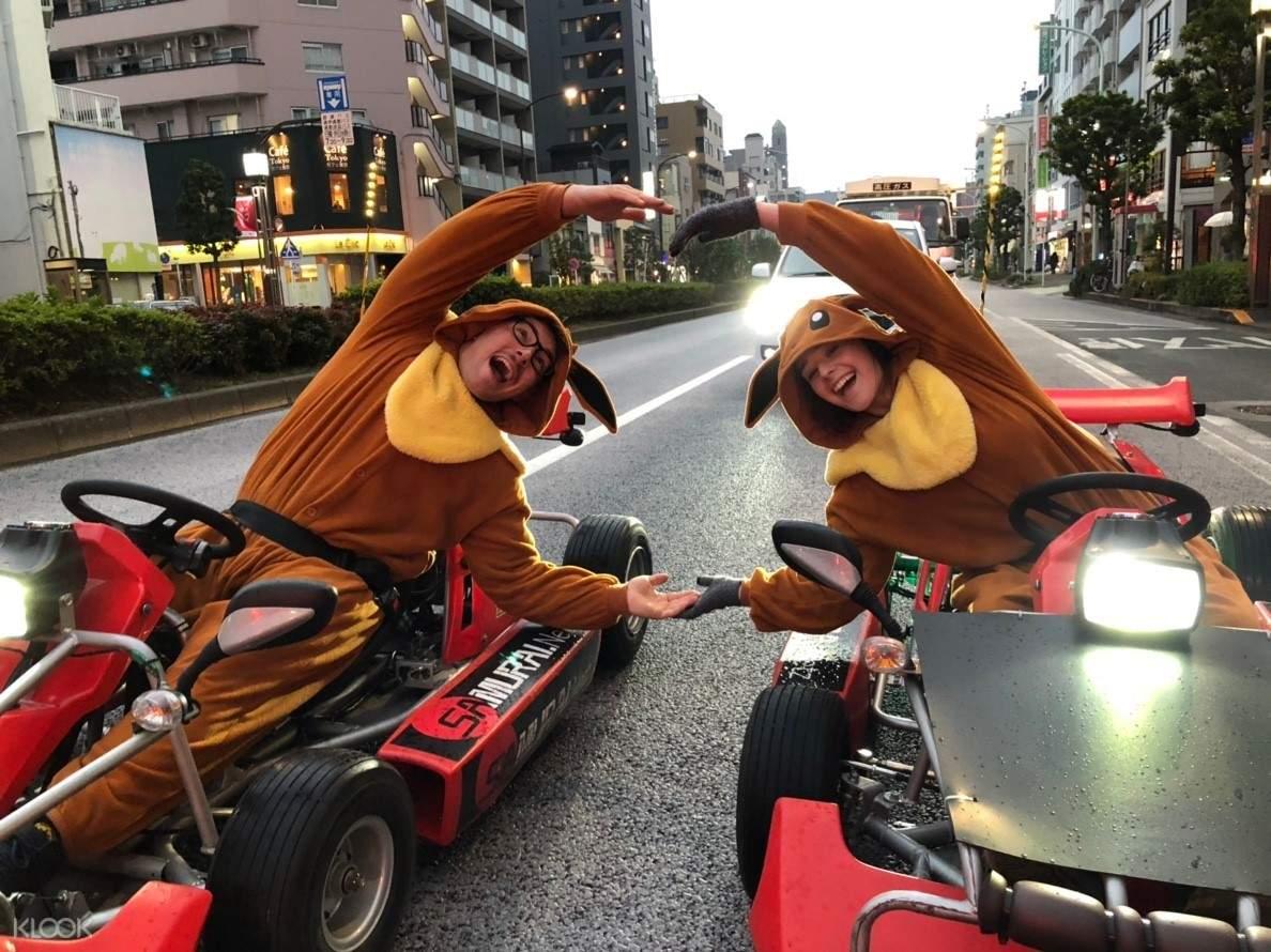 girl on a go kart along asakusa