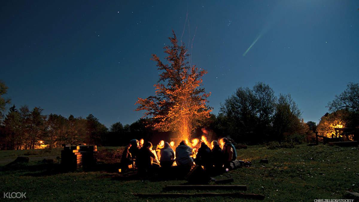 bonfire at camp site