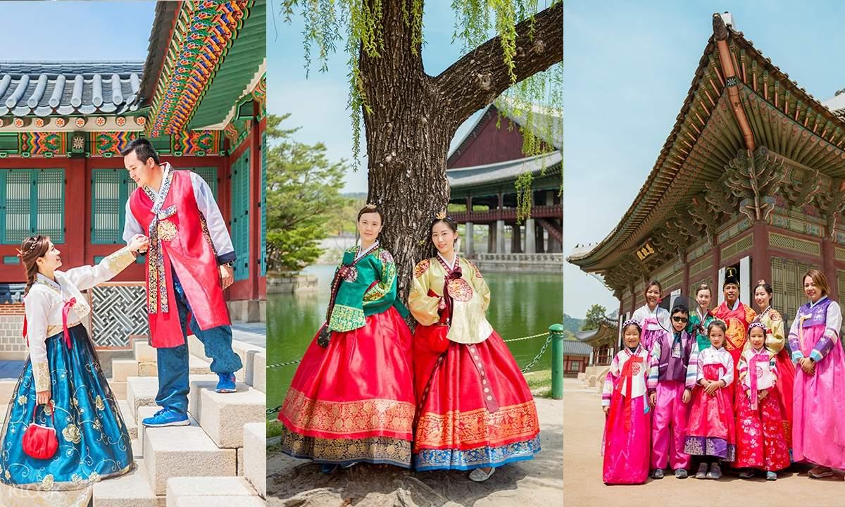 couples and families at Gyeongbokgung Palace wearing hanboks