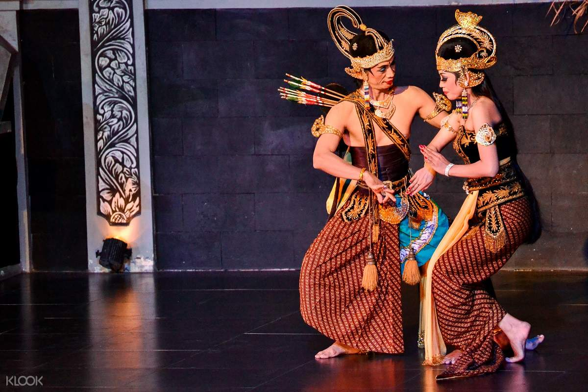 man and woman dancing in the ramayana ballet