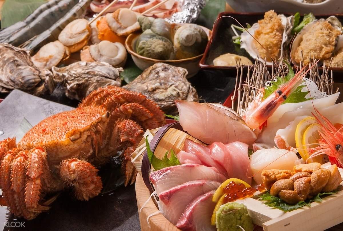 Deluxe Hokkaido Seafood Course at Yuuichirou Shouten at Sapporo Station